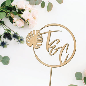 Personalized Monstera Leaf Cake Topper