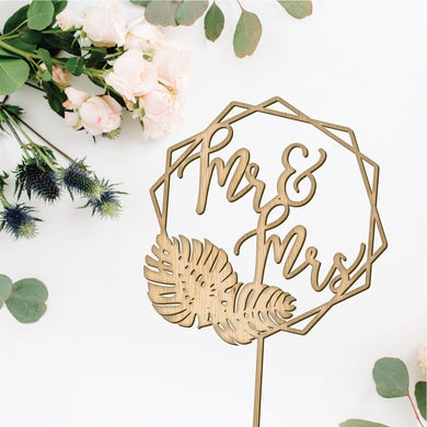 Mr & Mrs Geometric Wedding Cake Topper