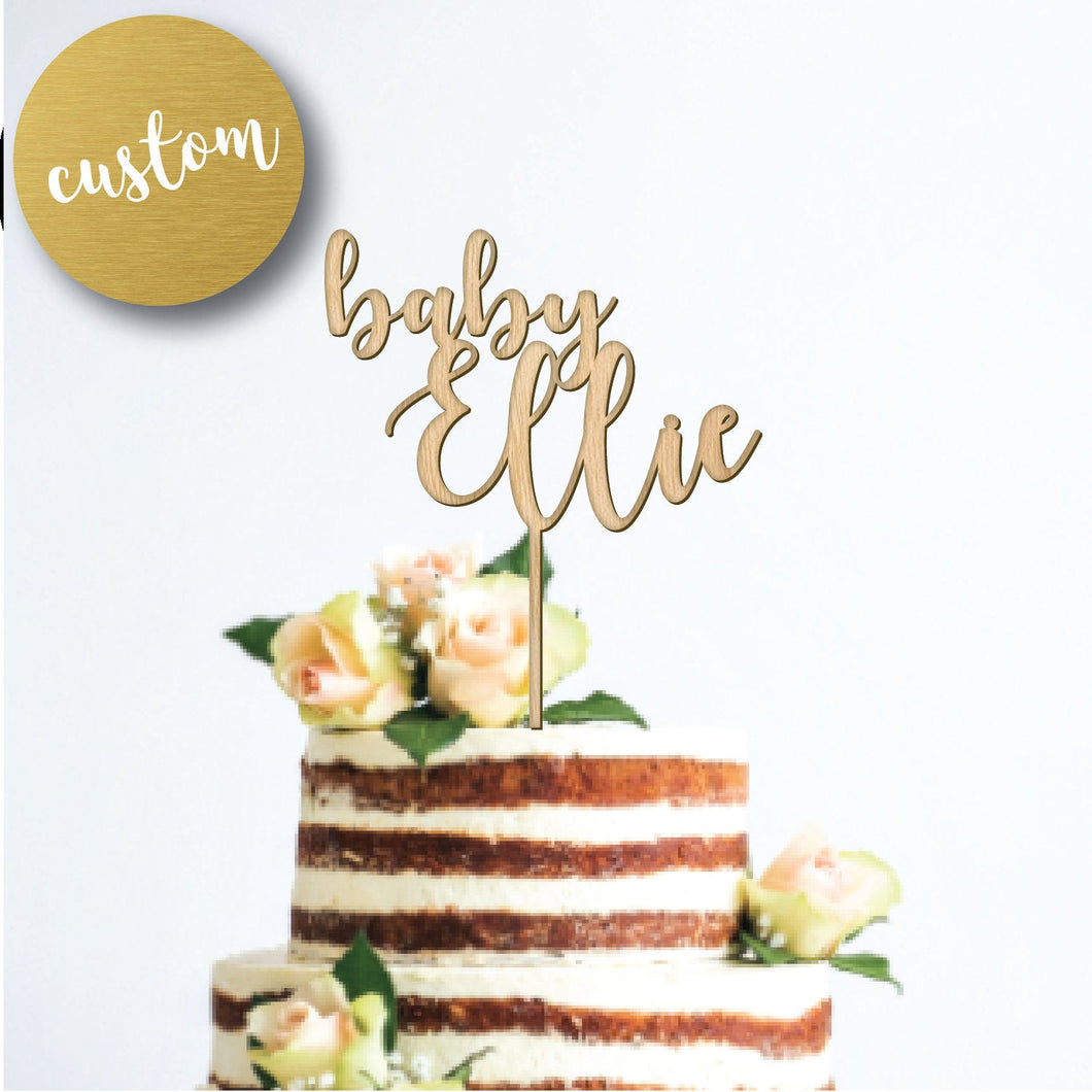 Baby Shower Name Cake Topper