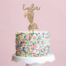 Load image into Gallery viewer, Personalized Mermaid Birthday Cake Topper