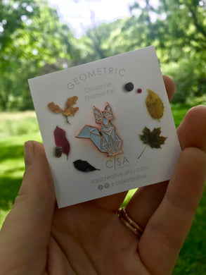 Rose Gold Geometric Fox Enamel Pin