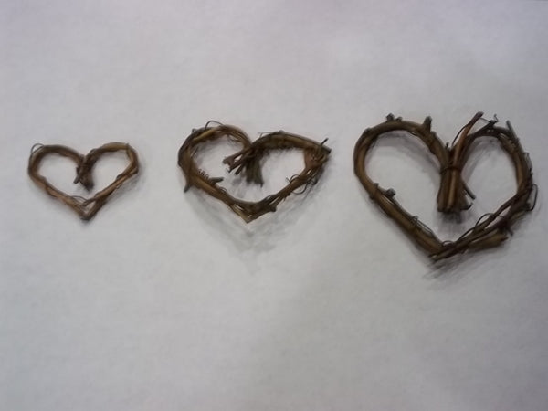 Miniature Grapevine Wreaths Hearts for Fairy Gardens or Miniature Gardens