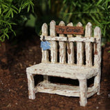 Picket Fence Potting Bench Rustic Fairy Garden Decor Miniature