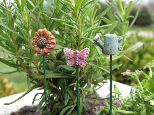 Miniature Garden Stakes Set of 3 Decor for Fairy Gardens, Terrariums, Miniature Gardens
