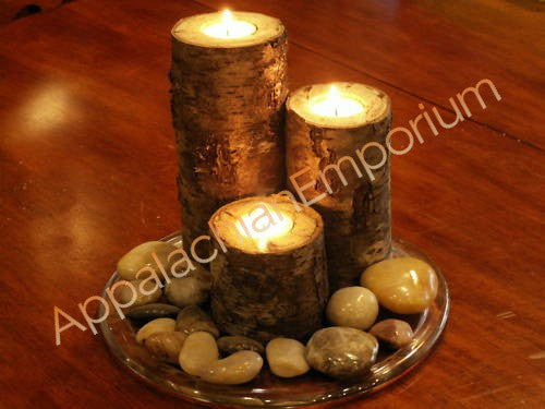 Set of 3 Birch Bark Real Wood Candle Holders Handmade Log Rustic Cabin Decor Tea Lite Tea Light Wedding