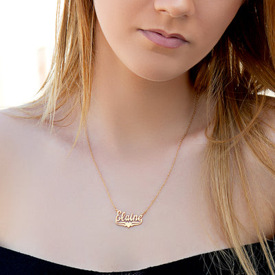 "Name Necklace with Lower Tails & Heart ""Alexandra"""