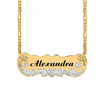 """Alexandra"" Style Laser-Engraved Nameplate Necklace with Beading and Rhodium"