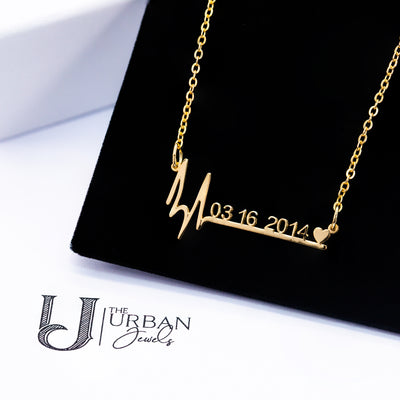 Heartbeat Date Necklace