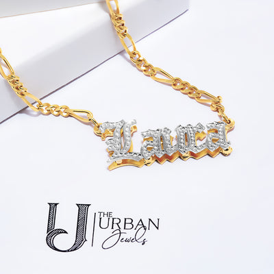"Double-Plated ""Laura"" Name Necklace with Beading"