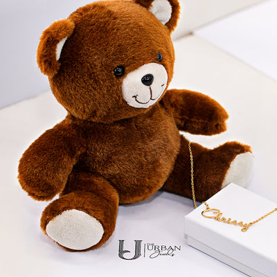 Script Name Necklace with FREE Teddy Bear