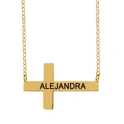Gold Horizontal Engravable Cross
