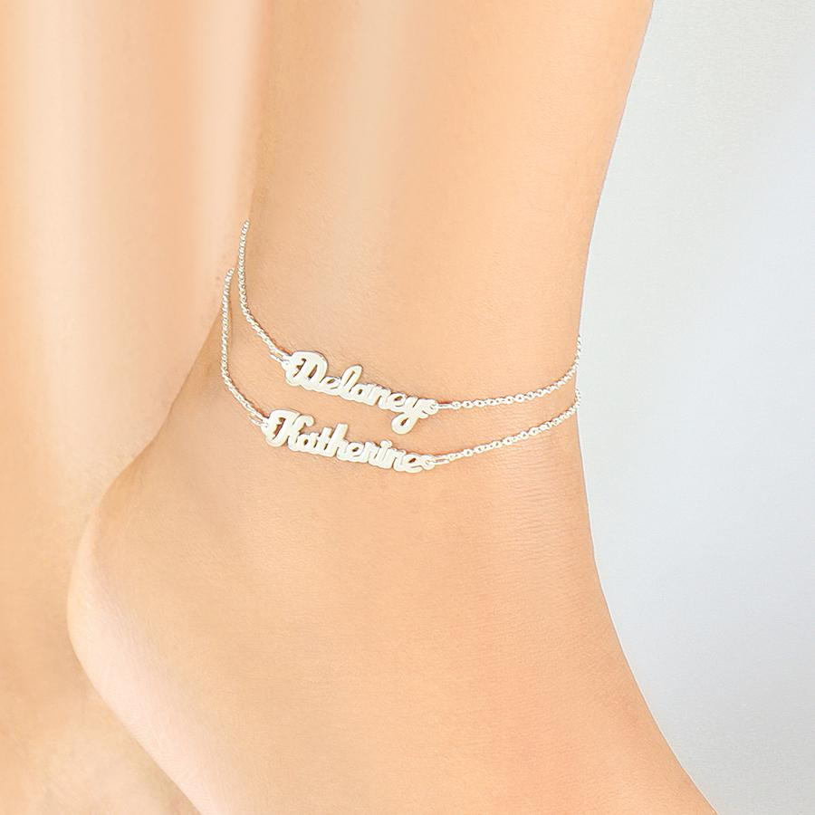 Mini Name Plate Ankle Bracelets