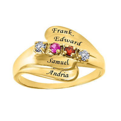 Mother's Ring with Birthstones & Engraving