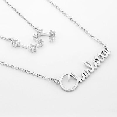 Script Name Necklace with Optional Zodiac Necklace