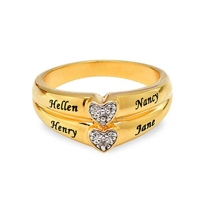 Personalized Diamond Accent Ring with Two Hearts