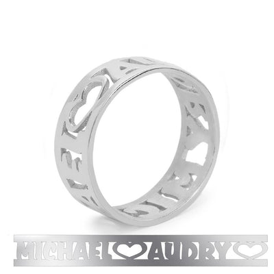 Personalized Sculpted Cut-Out Name Ring