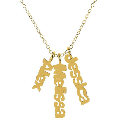 Vertical Mini Name Plates Necklace