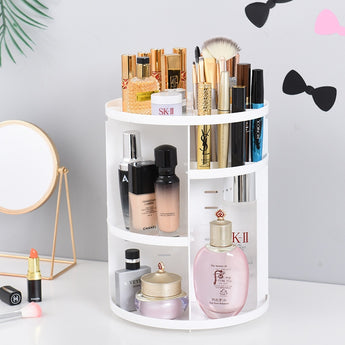 Rotating Makeup Organizer -  Adjustable Make Up or Jewelry Storage Box