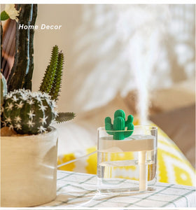Cactus Air Humidifier with Light -  USB Essential Oil Diffuser