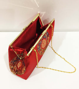 Vintage evening clutches; red purse; red clutch; chinese style purse silk purse