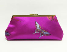 Load image into Gallery viewer, Butterfly Clutch; Magenta evening bags; Silk purse