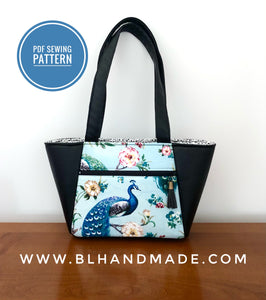 Peacock Tote Bag Sewing Pattern;- Two sizes; Tote Bag Sewing Pattern; Digital PDF sewing pattern for instant download