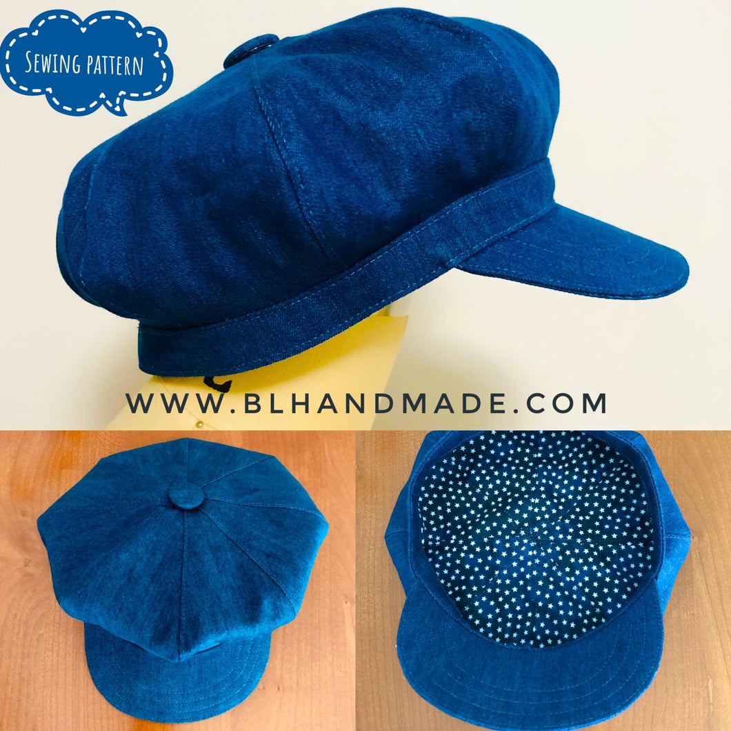 Hat sewing pattern; 8 Angles Beret Hat; Simple Hat pattern