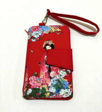 Load image into Gallery viewer, Lady in red cotton fabric wallets purses; Fabric wallets with card slots phone pocket