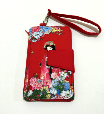 Lady in red cotton fabric wallets purses; Fabric wallets with card slots phone pocket | BLHandmade