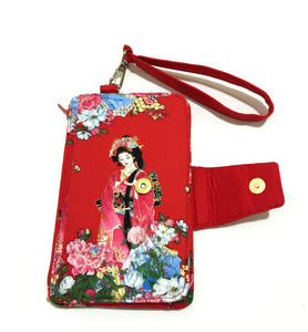 Lady in red cotton fabric wallets purses; Fabric wallets with card slots phone pocket