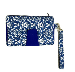 Blue parsely cotton fabric wallets purses with card slots & phone pocket | BLHandmade