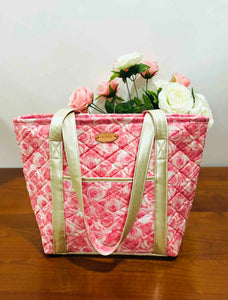 Pink Roses Large Cotton Quilted Shoulder Handbags | BLHandmade.com