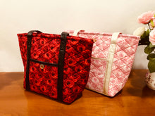 Load image into Gallery viewer, Red Roses Large Cotton Quilted Handbags; Cotton Shoulder Bag | BLHandmade.com