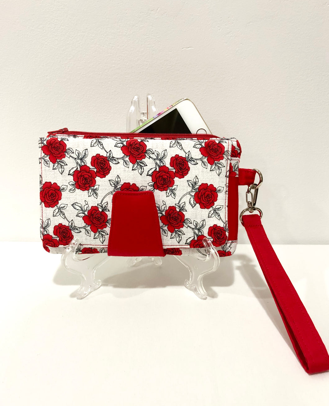 Roses with White Cotton fabric Wallets Purses; Fabric Wallet with card slots & phone pocket