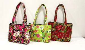 Cotton Quilted handbags for Christmas gifts; Christmase Pointsettias