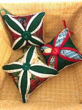 Load image into Gallery viewer, Christmas oranaments; pin cushions ; Cathedral window pin cushion