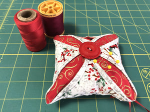 Christmas oranaments; pin cushions ; Cathedral window pin cushion