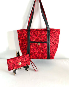 Red Roses Large Cotton Quilted Handbags; Cotton Shoulder Bag | BLHandmade.com