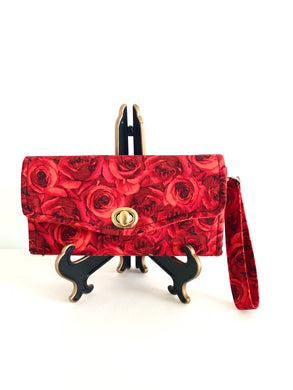 fabric wallets fabric clutch with strap; rose wallets; pink wallets; pink clutch; red roses wallet