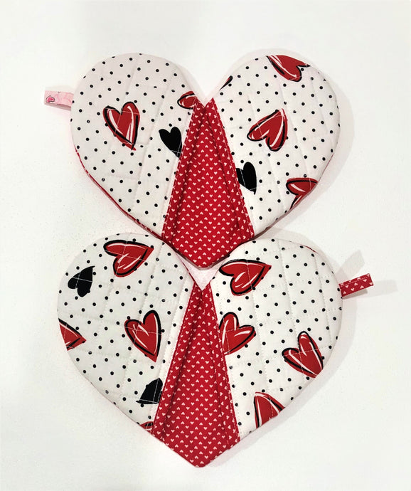 Pick any pair of; Quilted potholders; heart-shaped potholders; Heart-shaped mitt; Oven Mitt;