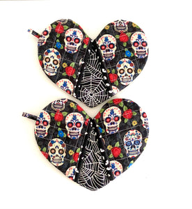 Pick any pair of; Quilted potholders; heart-shaped potholders; Heart-shaped mitt; Oven Mitt; Halloween Potholders; Hostess Gift; Shower gifts