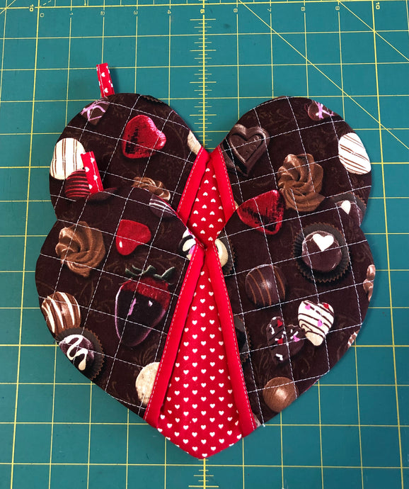 Pick any pair of; Quilted potholders; heart-shaped potholders; Oven Mitt; Oven Mittens; Chocolate Print