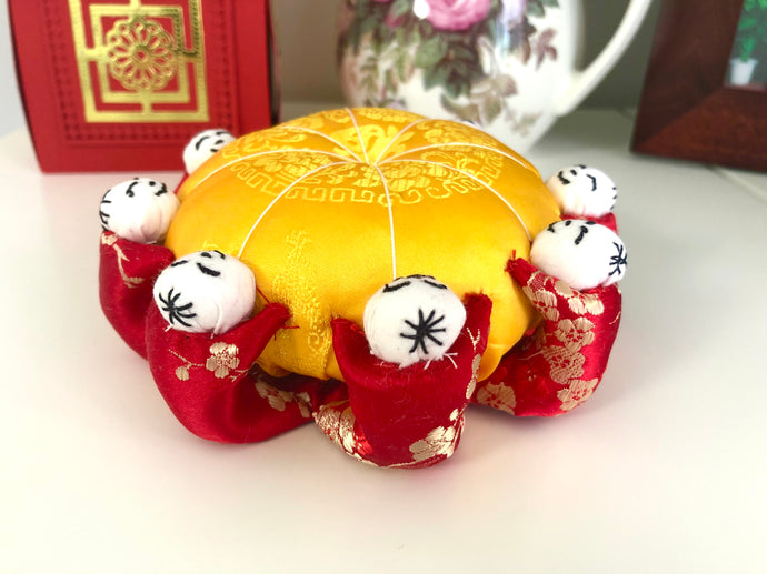 Handmade Chinese Pincushion; Eight little person Pincushion