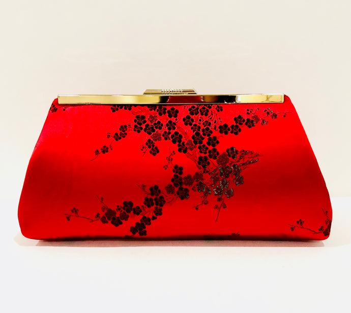 Vintage evening clutches; red purse; red clutch; chinese style purse; silk purse