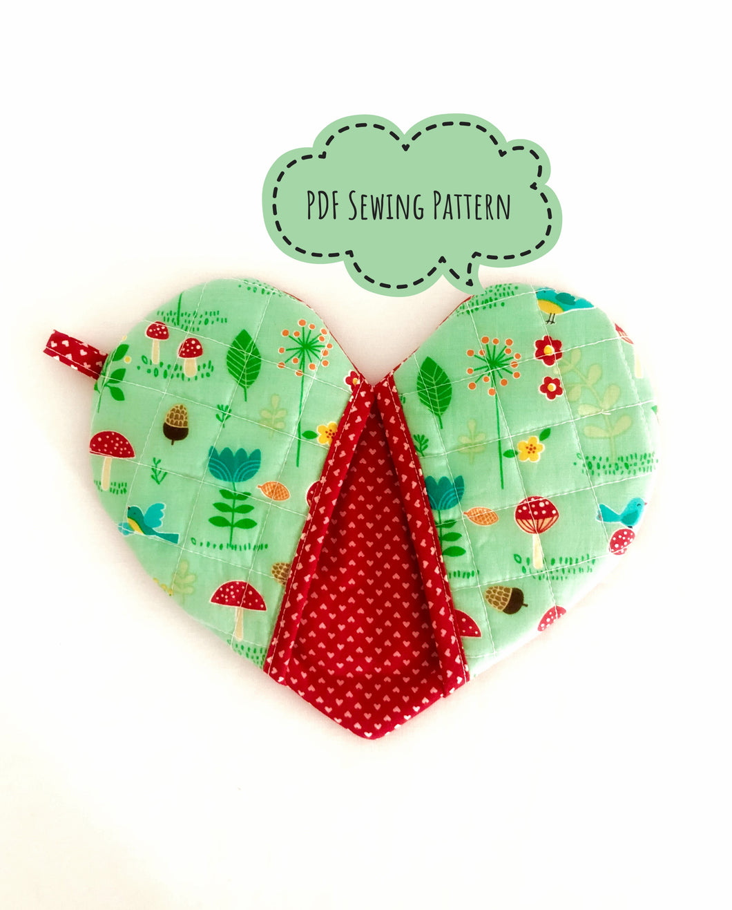 Heart Shaped Oven Mitt Sewing Pattern; Heart Shaped Potholders PDF Sewing Pattern