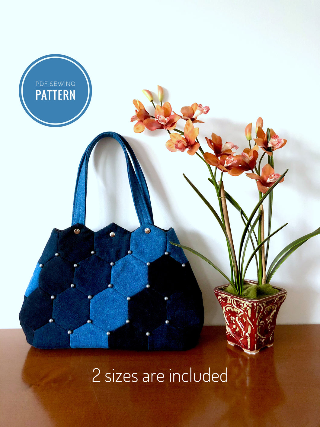 Hexagon patchwork sewing pattern; Denim patchwork pattern; PDF pattern; Patchwork handbag; Sewing pattern; Denim Handbag