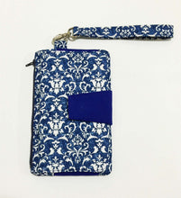 Load image into Gallery viewer, Blue parsely cotton fabric wallets purses with card slots & phone pocket | BLHandmade
