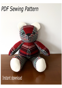 Teddy bear; teddy bear sewing pattern; stuffed animal sewing pattern; memory bear pattern