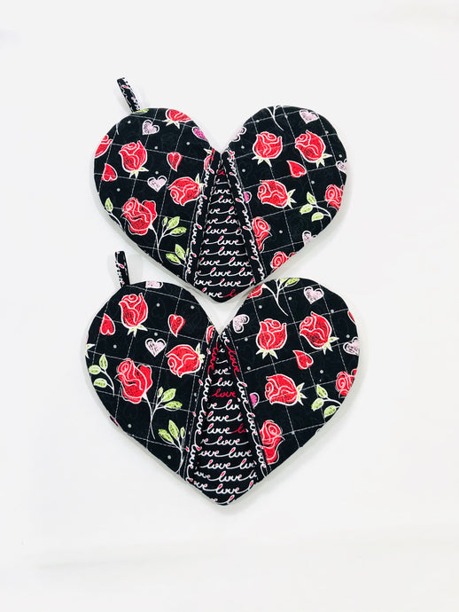 love mitten; red roses heart shape potholders; quilted potholders