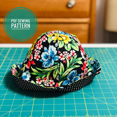 hat sewing pattern, reversible hat pattern; simple sewing pattern, hat pattern